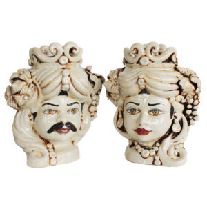 Coppia teste in Ceramica di Caltagirone